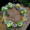 Green / Pink murano glass stretch bracelet