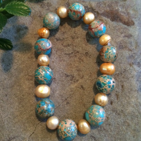 Gold Pearl / Jasper stretch bracelet