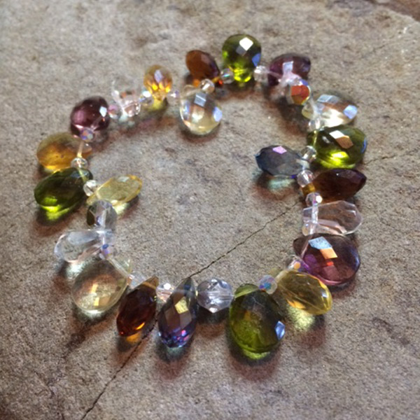 Multi-colour Czech glass and Swarvoski crystal teardrop stretch bracelet