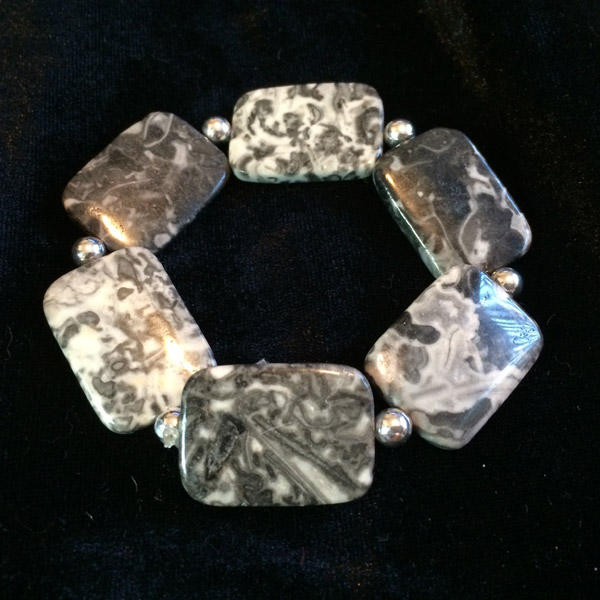 Plant Moss Jasper rectangular large stone stretch bracelet