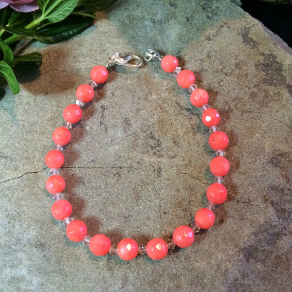 Authentic pink Coral with clear glass spacer bracelet