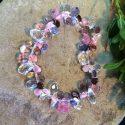 Multi-coloured glass and Swarovski Crystal teardrop bead stretch bracelet