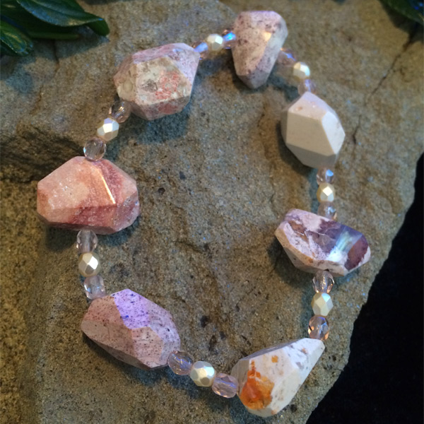Pink / White / Grey Mexican Lace Agate gemstone stretch bracelet