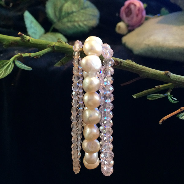 Fresh water Pearl with clear 3mm and 2mm matching Chinese Crystal stretch bracelets