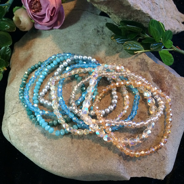 Multi-Coloured combination Chinese Crystal, Czech glass and fresh water Pearl stretch bracelets.