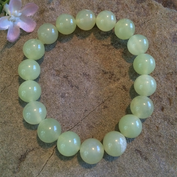 Green jade gemstone bracelet 6mm stretch bracelet