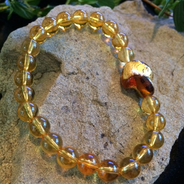 uthentic yellow Citrin 6mm gemstone stretch bracelet