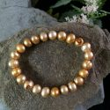 Golden colour fresh water pearl 6-7 mm stretch bracelet
