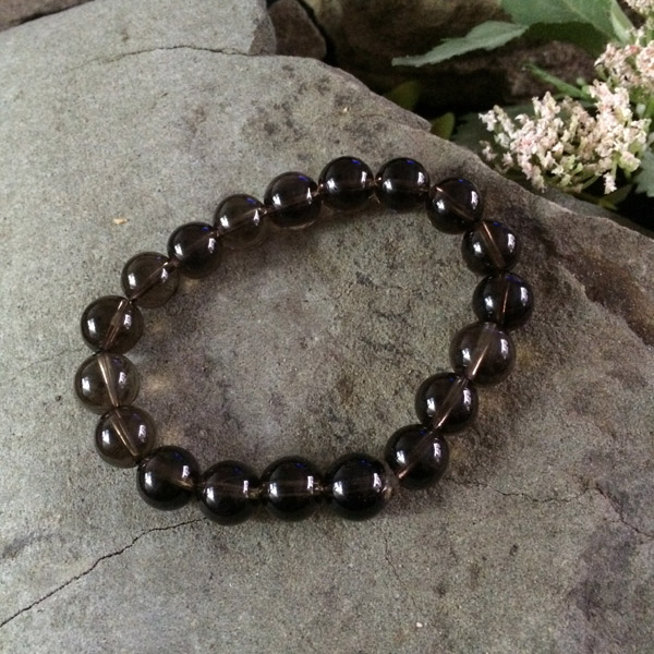 Smoky Quartz round gemstone stretch bracelet
