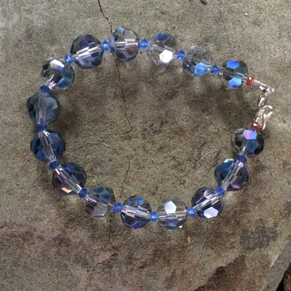 Transparent clear blue tone Chinese crystal faceted bracelet