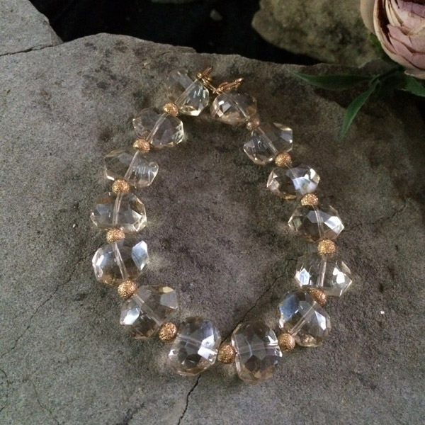 Gold transparent chinese crystal oval shape faceted bracelet