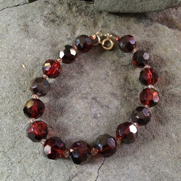 Red Chinese crystal 10mm faceted bracelet