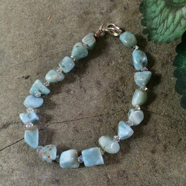 Larimar gemstone from Dominican Republic with Swarovski crystal bracelet