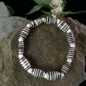 Black and white stripe bone with white bone stretch bracelet