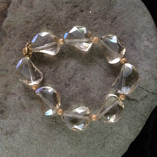 Gold transparent Chinese crystal irregular shape stretch bracelet