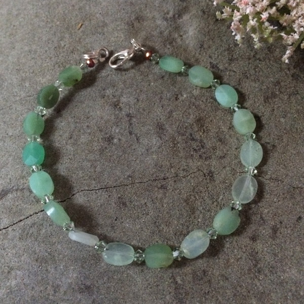 Green Chrysoprase with Swarovski crystal bracelet