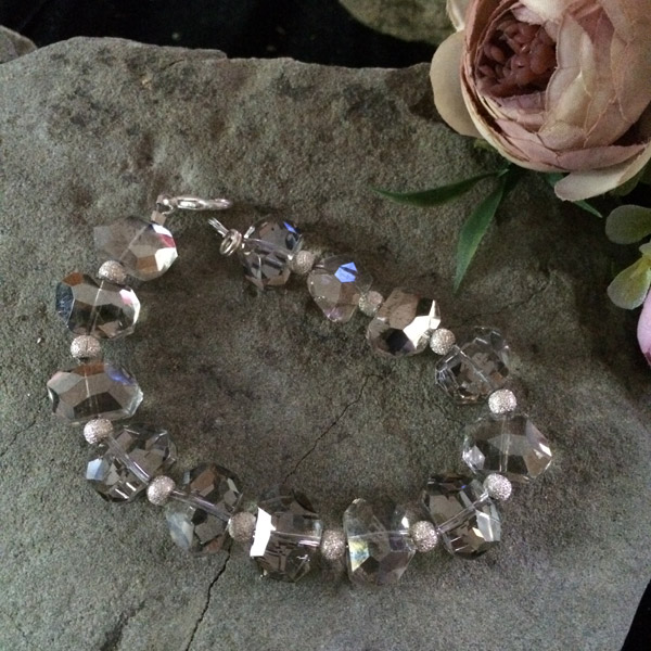 Silver transparent oval shape Chinese crystal with silver plated sparkle beads