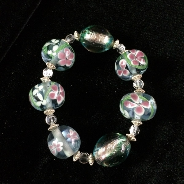 Large Murano glass beads bracelet