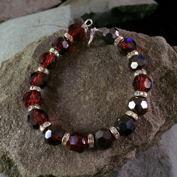 Red translucent Chinese crystal faceted bracelet