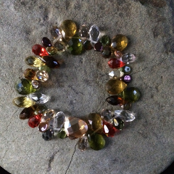 Multi-coloured Swarovski Crystal and Czech glass teardrop stretch bracelet