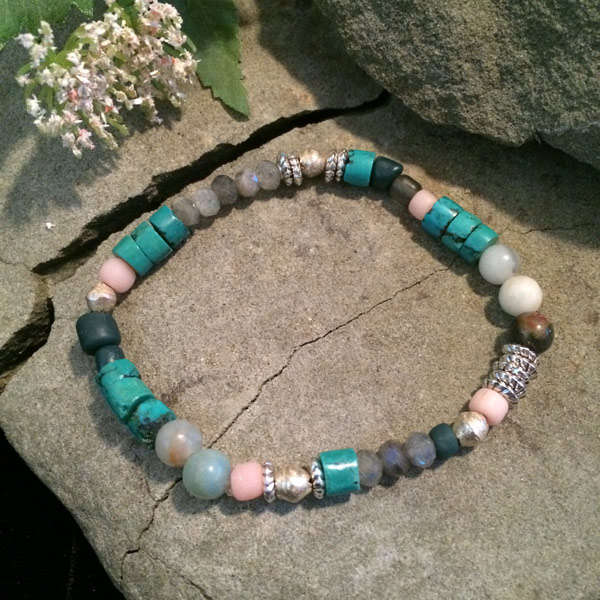 Multiple gemstone stretch bracelet with Magnesite, Labradorite, Amazonite, metallic
