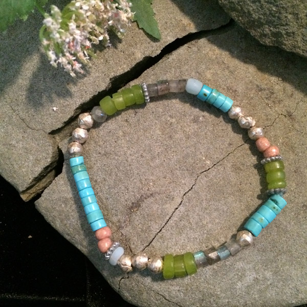 Multiple gemstone stretch bracelet with Magnesite, Turquoise, Jade, metallic beads