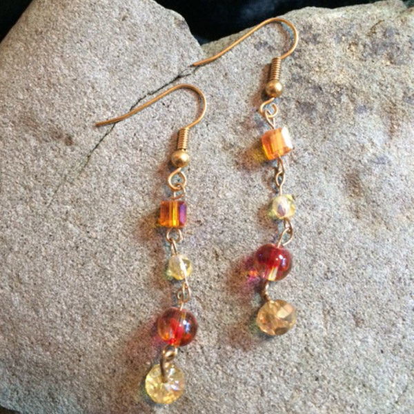 Orange crystal and glass beads earrings