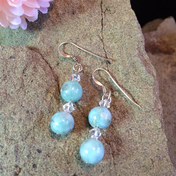 Genuine Larimar beads crystal bacon earrings