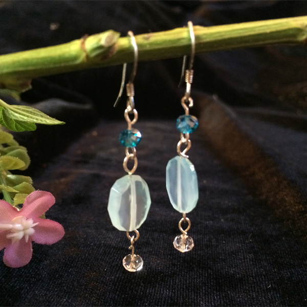 blue chalcedony crystals earrings