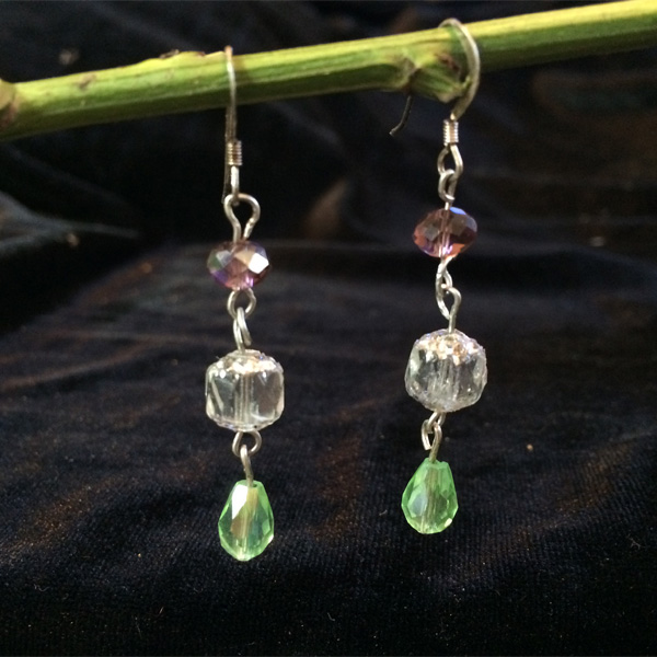 Green Chinese crystal beads earrings