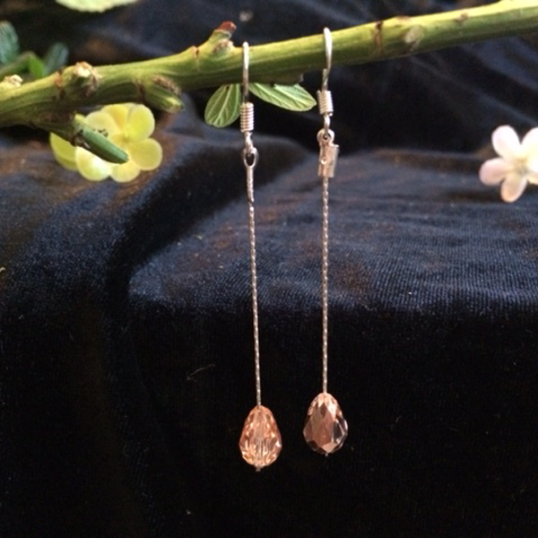 rose gold swarovski crystal teardrop dangle earrings