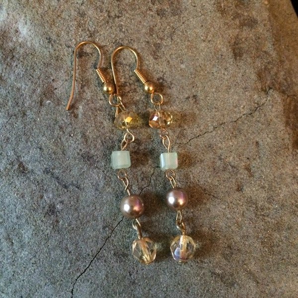 Gold tone Crystal & Glass Pearl Earrings