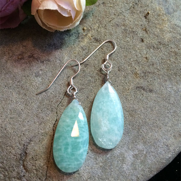 pale green chalcedony teardrop earrings