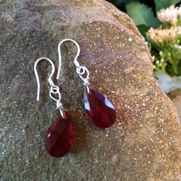 Dark red teardrop Swarovski crystal with sterling silver hooks
