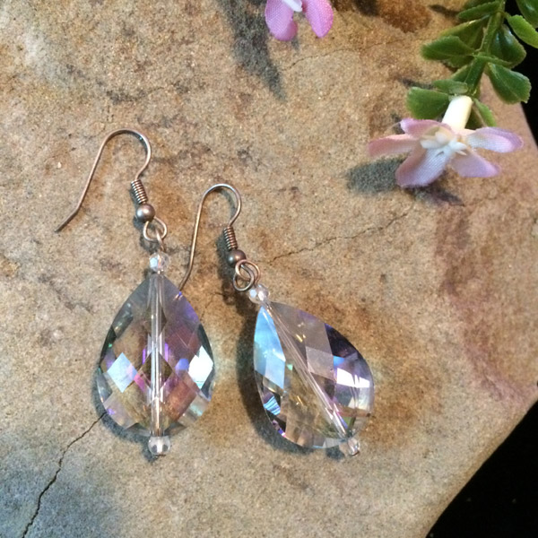 Large teardrop Chinese crystal Earrings
