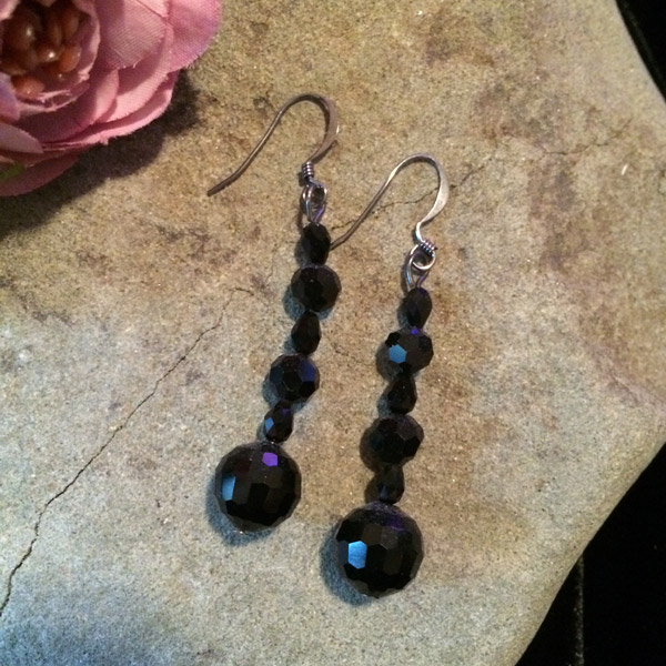 Elegant black dyed Chinese crystal earrings
