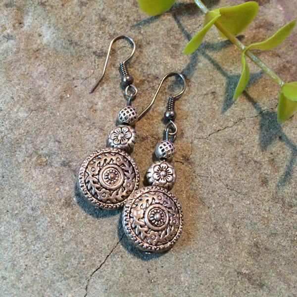 Silver metallic earrings