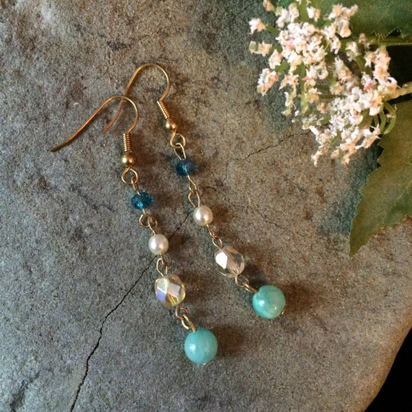 Multi-coloured earrings with green aventurine, glass pearl, Czech glass and Chinese crystal