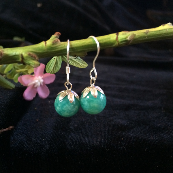Green round Aventurine gemstone earrings with silver leaf caps