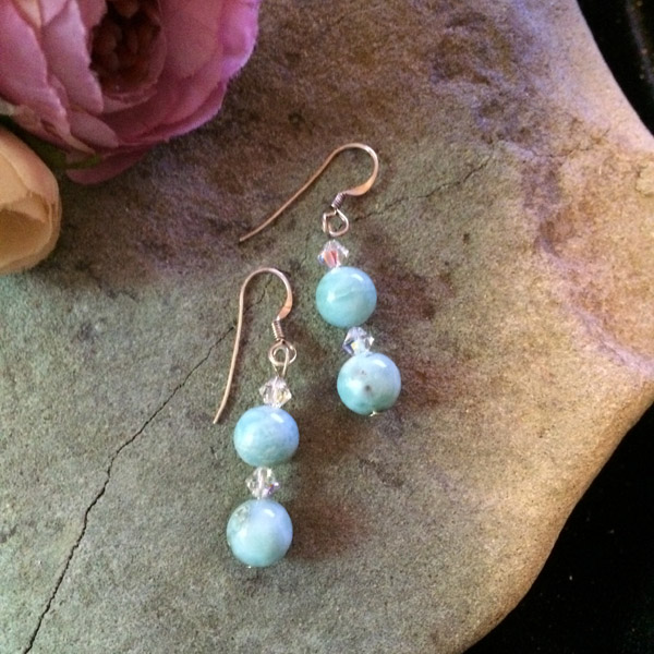 Larimar & Swarovski Crystal Earrings