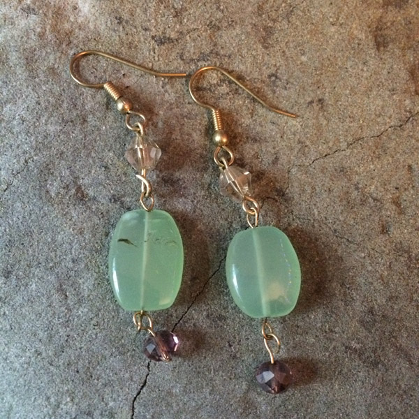 Green Chalcedony with gold Chinese crystal Earrings