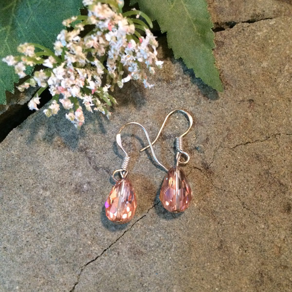 Rose coloured teardrop Swarovski crystal earrings with sterling silver ear hooks ($34)