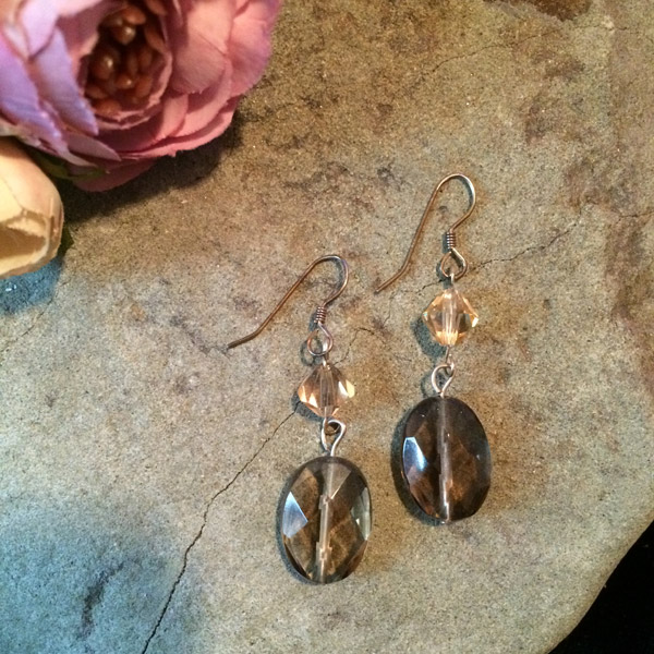 smoky Quartz oval shape with gold Swarovski crystal bicone earrings