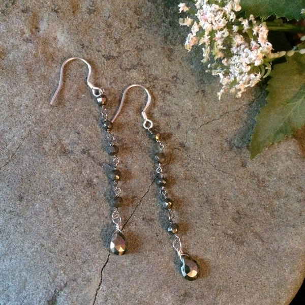 Black/gold hematite earrings