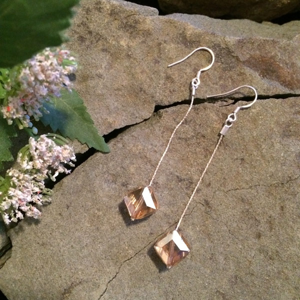 Chinese crystal square earrings with sterling silver thread and ear hooks ($32)