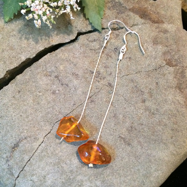 Authentic Amber freeform earrings with sterling silver thread and ear hooks ($35)
