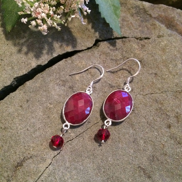 Authentic Ruby bezel faceted earrings with red Czech glass beads, sterling silver ear hooks ($49)