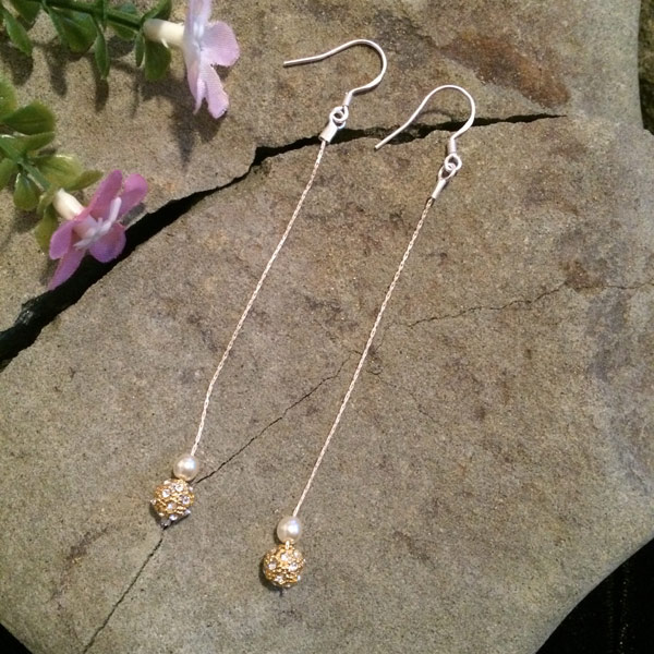 Gold sparkle bead with white glass pearl earrings and sterling silver thread and ear hooks ($29)