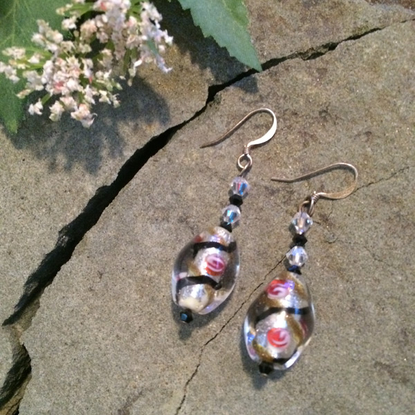 Murano glass and faceted clear glass bead earrings with sterling silver ear hooks ($35)