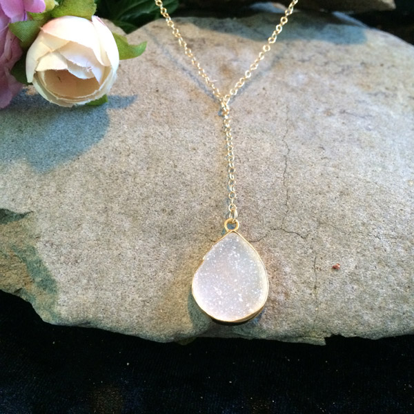white moonstone druzy teardrop pendant necklace